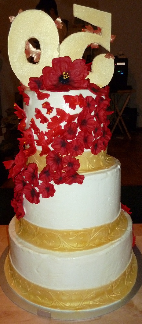 Tiered Red And Gold Cake Baking Things