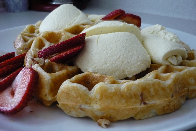 ... Bacon Belgian Waffles with Vanilla Rum Mousse | Baking Things